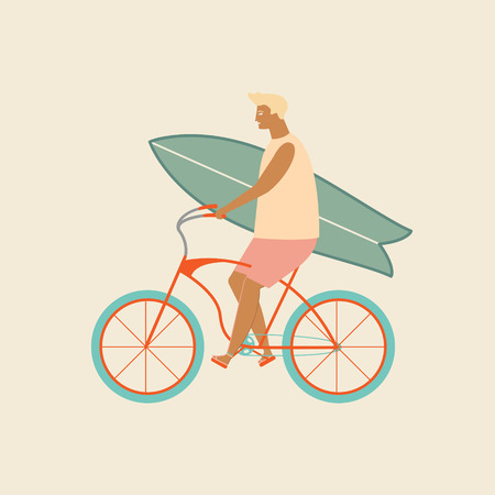 Surfer bicycle rider with surfboard on the beach. Funny cartoon character young man riding a bike.