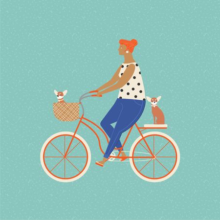 beagle puppy: Pretty girl riding a bicycle carrying a basket with cute beagle puppy in. Owner ride a bike with a dog. Fun activities people and dog. Illustration