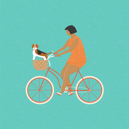 chihuahua puppy: Girl riding a bicycle carrying a basket with two cute chihuahua puppy in. Owner ride a bike with a dog. Fun activities people and dog.