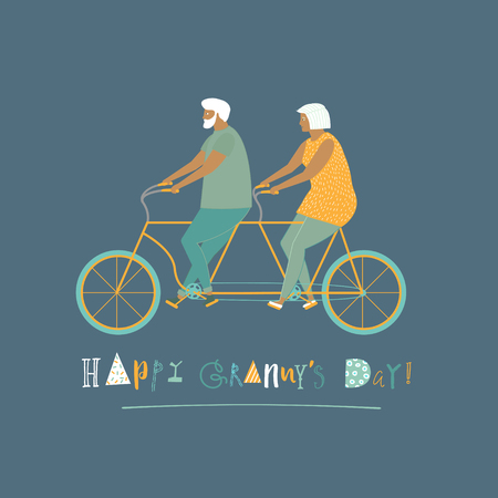 grandparent: Happy grandparent day card with elderly couple on bicycle tandem