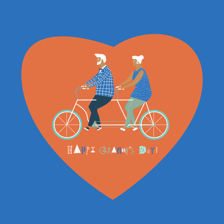 grandparent: Happy elderly couple cycling bicycle together. Happy anniversary for grandparent. Happy valentines day card for old parents. Flat design illustration.