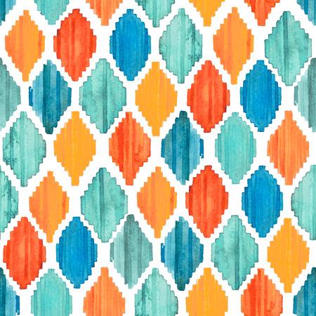 Watercolor ikat seamless pattern. Vibrant ethnic rhombus pattern in watercolour style.