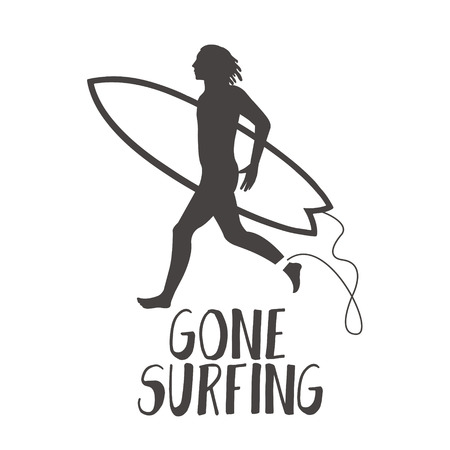 yong: Surfer running on the beach. Gone surfing calligraphy.
