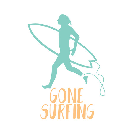 Surfer running on the beach. Gone surfing calligraphy.