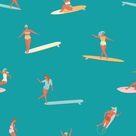 swell: Girl surfer in bikini seamless pattern. Flat style illustration. Summer beach surfing illustration. Illustration