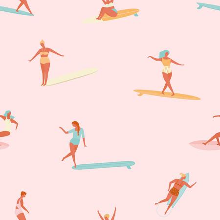 Girl surfer in bikini seamless pattern. Flat style illustration. Summer beach surfing illustration. 矢量图像