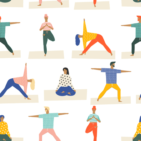 Healthy lifestyle yoga in different pose vector illustration.