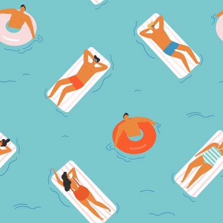 Summer time beach vector illustration.