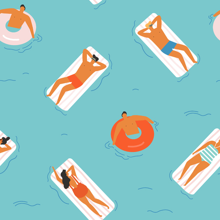 Summer time beach vector illustration.