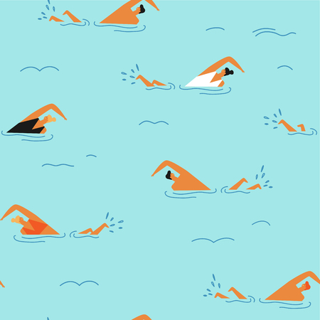 People swimming in the ocean seamless pattern. Çizim