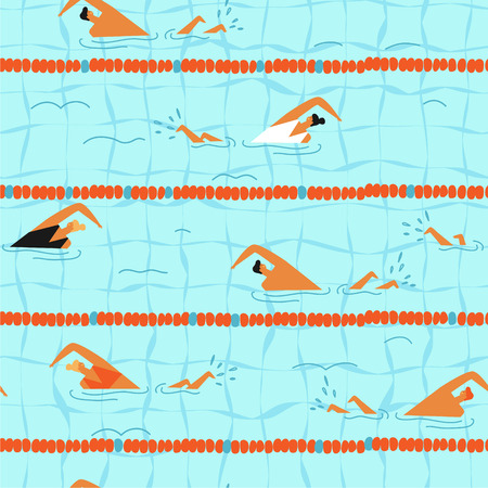 People swim in the swimming pool seamless pattern. Vettoriali