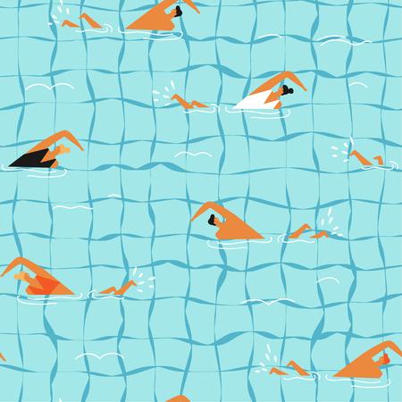 People swim in the swimming pool seamless pattern. Illustration