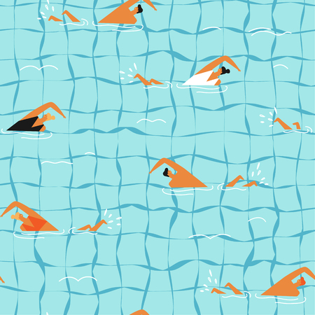 People swim in the swimming pool seamless pattern. Çizim