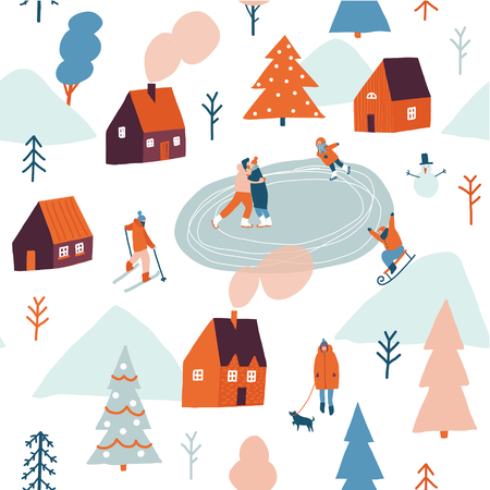 Christmas seamless pattern in vector. Stock Illustratie