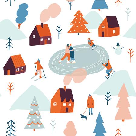 Christmas seamless pattern in vector. Illustration