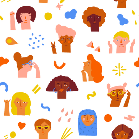 woman empowerment ideas seamless pattern