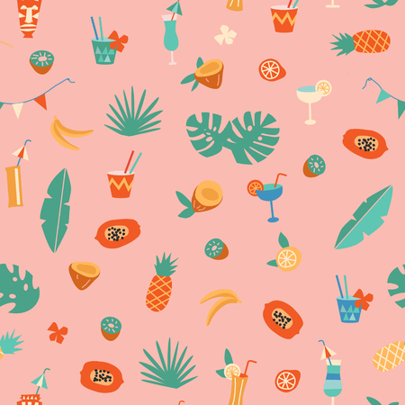 Tiki bar cocktail and fruits seamless pattern in vector. 일러스트