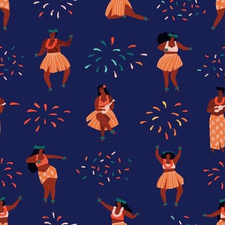 Hawaii dance seamless pattern. Illustration