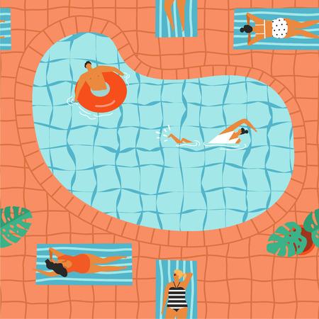 Girls in bikini sunbathing and swimming in the pool illustration in vector.