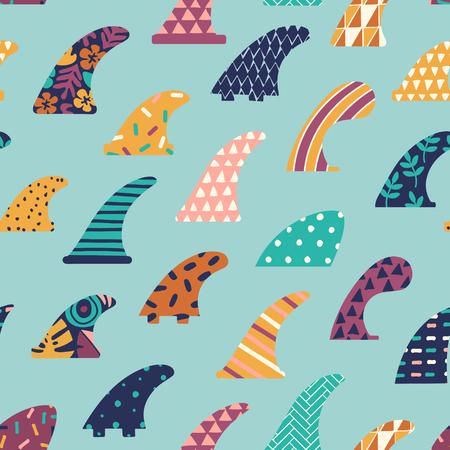 Single fin surfing seamless pattern in vector. 일러스트