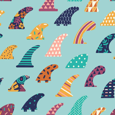 Single fin surfing seamless pattern in vector. Illustration