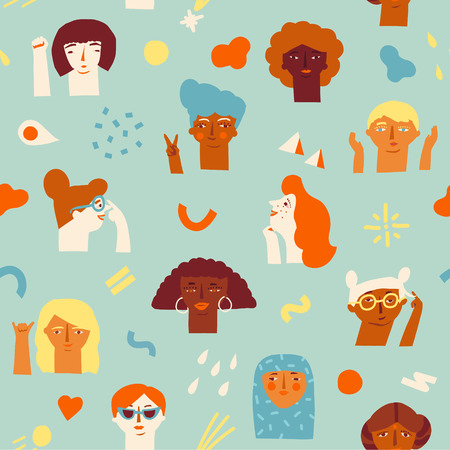 A woman empowerment ideas seamless pattern icon isolated on plain background. Иллюстрация