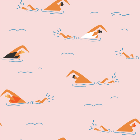 People swim in the swimming pool seamless pattern. Vectores