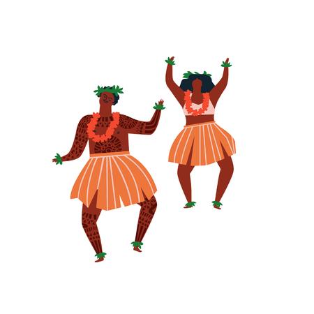 Hula Hawaiian dance illustration in vector.