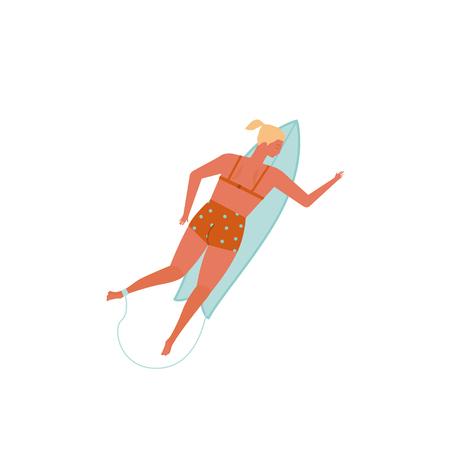 Surfing women in bikini vector illustration.