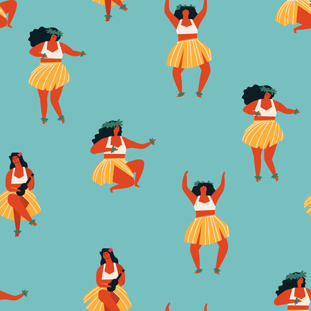 Hawaiian Hula dance girls dancing and playing guitar Illustration