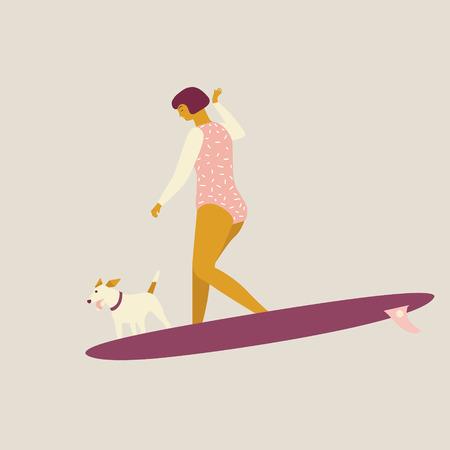 Mädchensurfer mit der Hundevektorillustration. Standard-Bild - 97055529