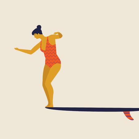 Girl surfer  in bikini vector illustration. Flat style illustration. Summer beach illustration.