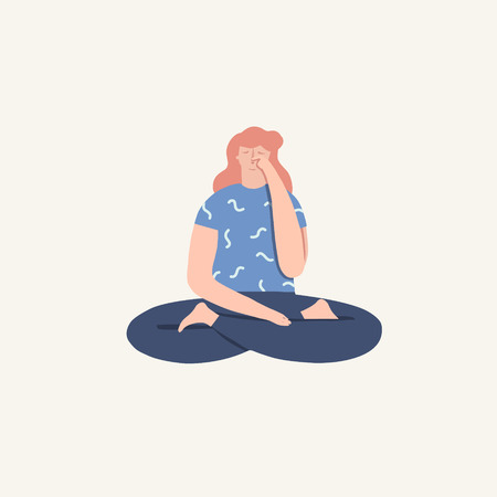Women doing yoga breathing exercise pranayama. Wellness illustration in vector. Vectores