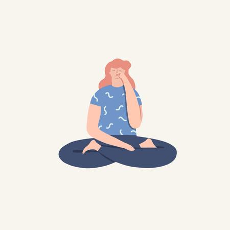 Women doing yoga breathing exercise pranayama. Wellness illustration in vector. 矢量图像