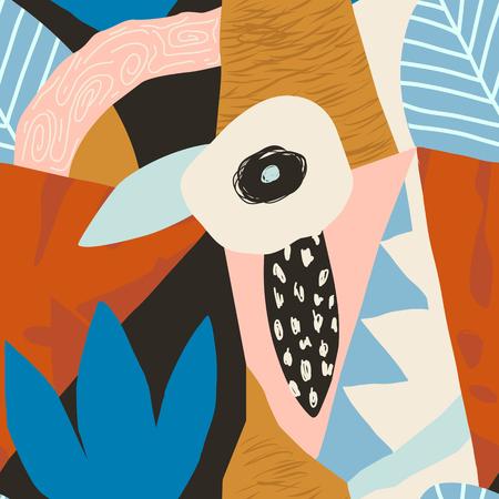 Collage patrón hawaiano floral contemporáneo en vector. Diseño de superficie sin costuras Ilustración de vector