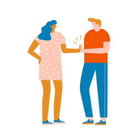 Team work concept. Two characters women and men are giving high five illustration in vector.