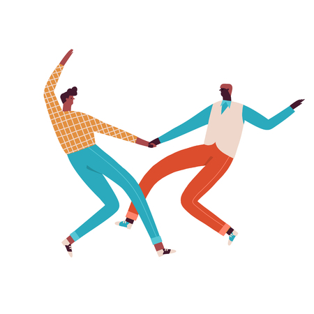 Couple of swing and rock n roll dancers dancing illustration in vector. Stock Illustratie