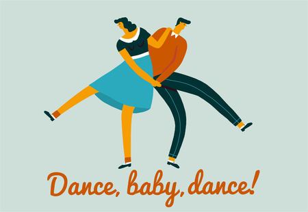 Dancing characters couple card in retro 50s style Stock Illustratie