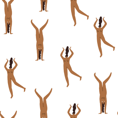 Mädchenfiguren in verschiedenen Posen nahtloses Muster. Frauenkörperillustration.