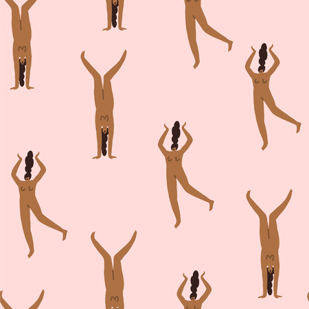 Girls characters in different poses seamless pattern. Women body illustration.  イラスト・ベクター素材
