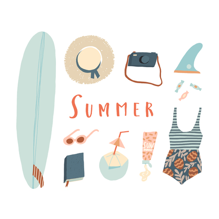 Summer beach kit of objects. Surfing Illustration in vector. Poster, tee, card design. Illustration