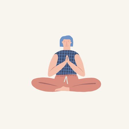 Girl doing yoga breathing exercise pranayama. Wellness illustration in vector.