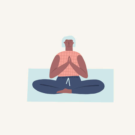 Women doing yoga breathing exercise illustration in vector. Healthy lifestyle theme. Illustration