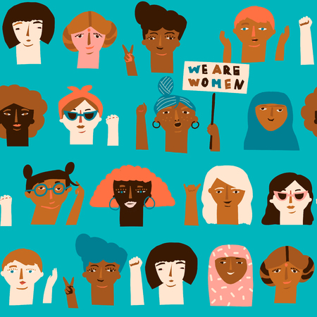 Female diverse faces of different ethnicity seamless pattern. Women empowerment movement pattern. International womens day graphic in vector.  イラスト・ベクター素材