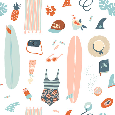 Surfer summer beach objects seamless pattern in vector. Summertime illustration in vector. Illustration