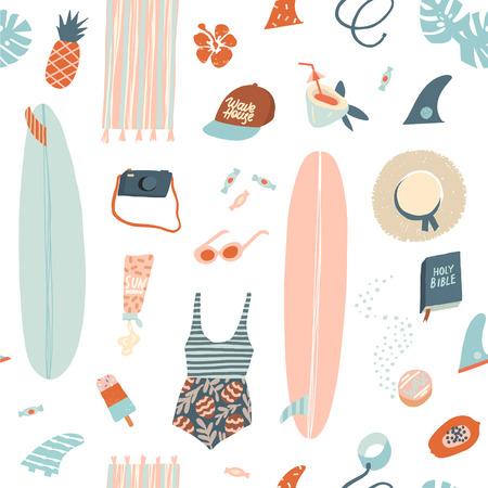 Surfista playa de verano objetos de patrones sin fisuras en el vector. Ilustración de verano en vector. Ilustración de vector