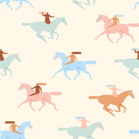 Girl riding horses seamless pattern in vector.