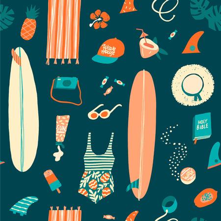 Modèle sans couture d'objets de plage été surfeur en vecteur. Illustration de l'été en vecteur. Vecteurs