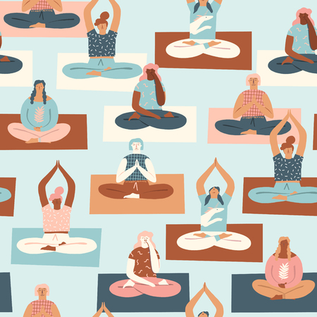 Yoga class with people meditating and doing breathing exercise seamless pattern in vector. Illustration
