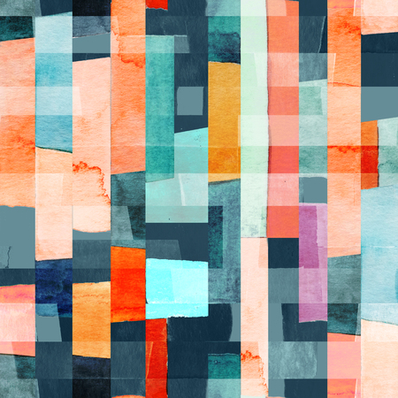 Geometric seamless pattern with multicolor stripes and teals. 免版税图像